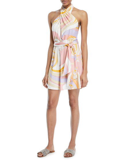 Emilio Pucci Parrot Printed Jersey Halter Coverup Dress