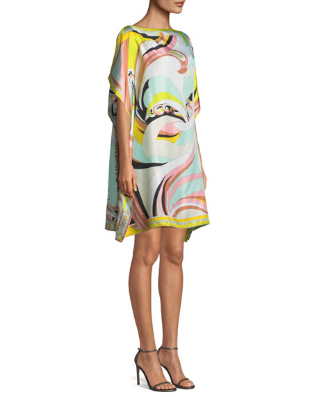 Parrot-Printed Silk Coverup Caftan