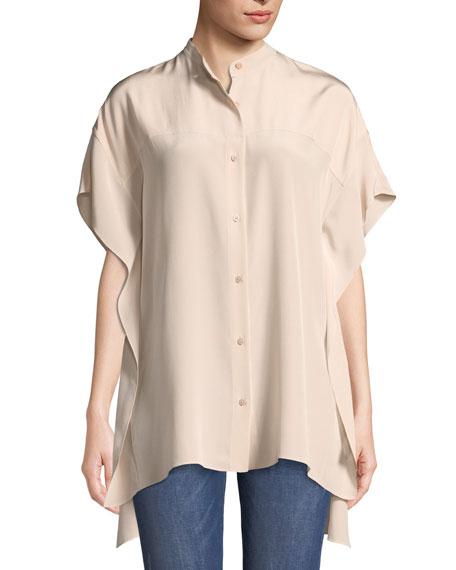 Short-Sleeve Silk Button-Down Top