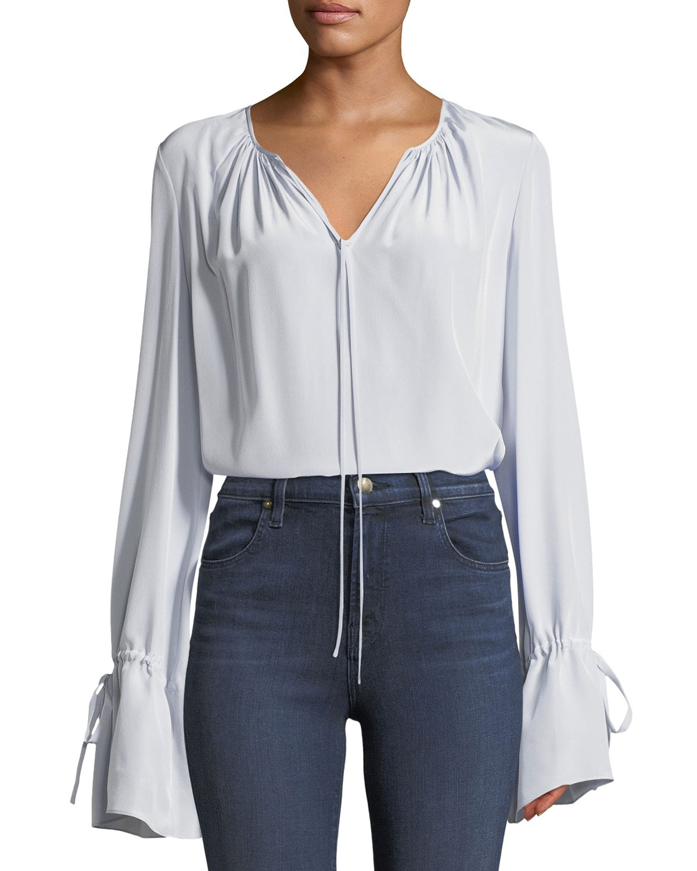 78175d46c111f Diane von Furstenberg Long-Sleeve Silk Crepe Keyhole Blouse