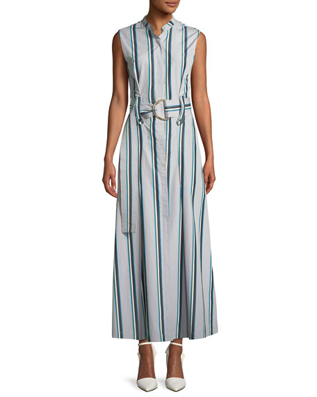 Diane von Furstenberg Striped Sleeveless Belted Maxi Dress