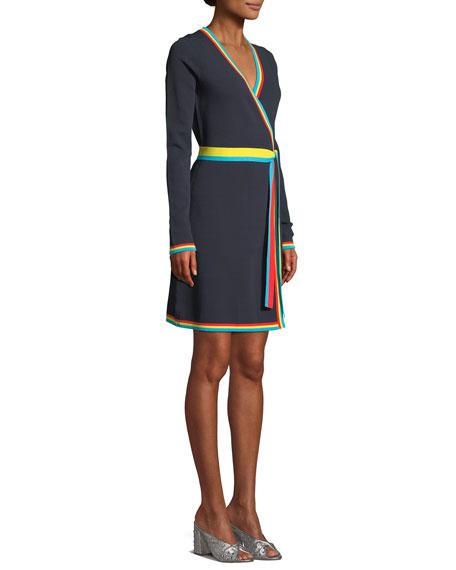 Long-Sleeve Wrap Sweater Dress