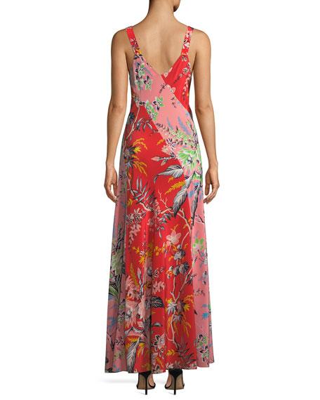 Bias-Cut Paneled Silk Maxi Dress