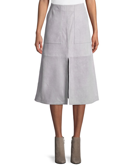 Diane von Furstenberg Suede Patch Pocket Midi Skirt