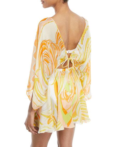 Baia Printed Silk Chiffon Mini Dress with Back Tie