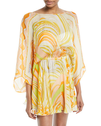 Baia Printed Silk Chiffon Mini Dress with Back Tie