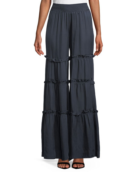 cinq a sept Avery Ruffle Trim Wide-Leg Pants