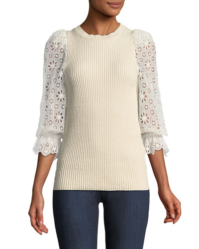 Eyelet-Sleeve Knit Crewneck Pullover
