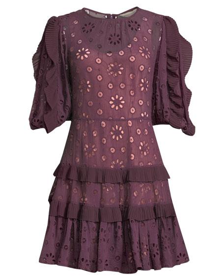 Pinwheel Eyelet Ruffle Mini Dress