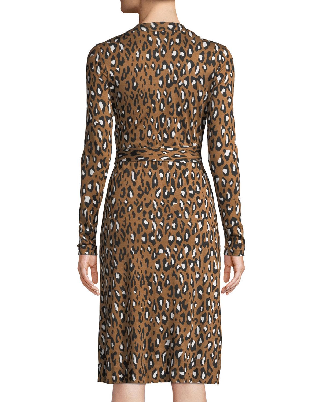9f4821239e7cc Diane von Furstenberg Cybil Banded Leopard-Print Silk Jersey Wrap Dress |  Neiman Marcus