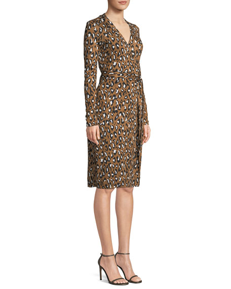 Cybil Banded Leopard-Print Silk Jersey Wrap Dress