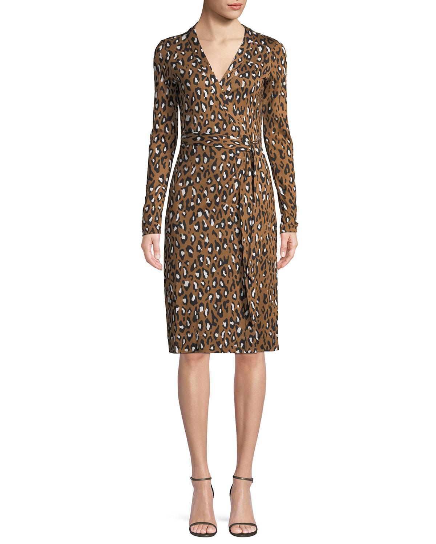 60b58baffec8e Diane von Furstenberg Cybil Banded Leopard-Print Silk Jersey Wrap Dress