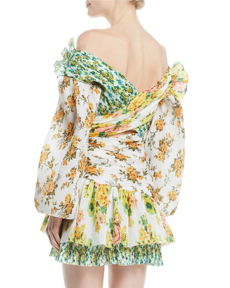 Golden Surfer Off-the-Shoulder Floral-Print Cutout Mini Dress