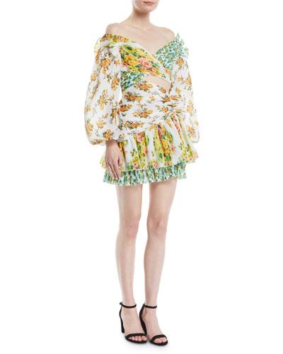 Golden Surfer Off-the-Shoulder Floral-Print Cutout Mini Dress
