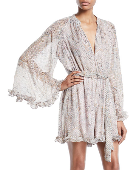 Zimmermann V-Neck Tie-Waist Damask-Print Swiss-Dot Playsuit with