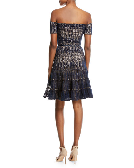 Tiered Lace Off-the-Shoulder Fit & Flare Cocktail Dress
