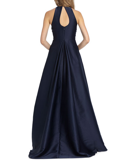 High-Neck Keyhole-Back Sleeveless Ball Gown with Pockets
