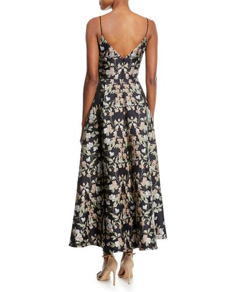 Floral-Print Sleeveless Cocktail Dress w/ Pockets