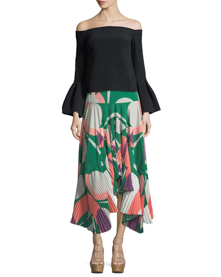 Liann Pleated High-Low Midi Skirt