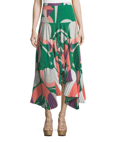 Liann Pleated High-Low Midi Skirt