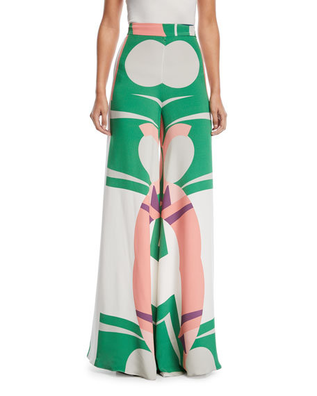 Auden Printed Wide-Leg Pants