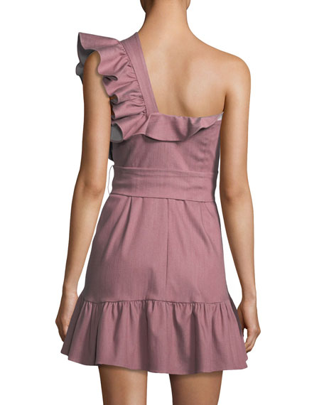 Adela One-Shoulder Ruffle Mini Dress
