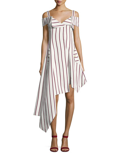 Daniele Striped Asymmetrical Dress