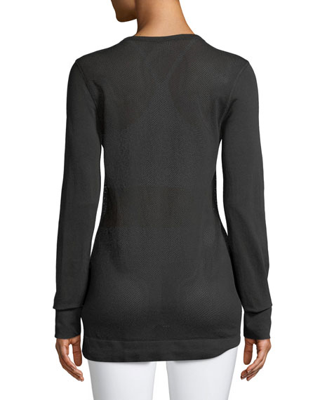 Kirby Long-Sleeve Mesh Crewneck Top