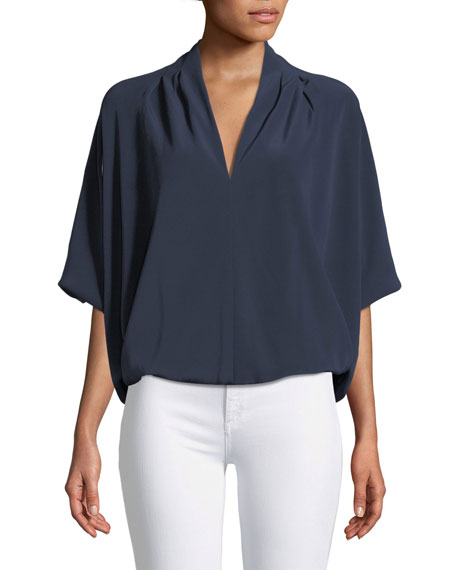 Ramy Brook Robi Short-Sleeve Cocoon Blouse