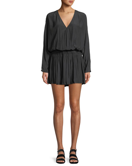 Mabel Ruched Long-Sleeve Mini Dress