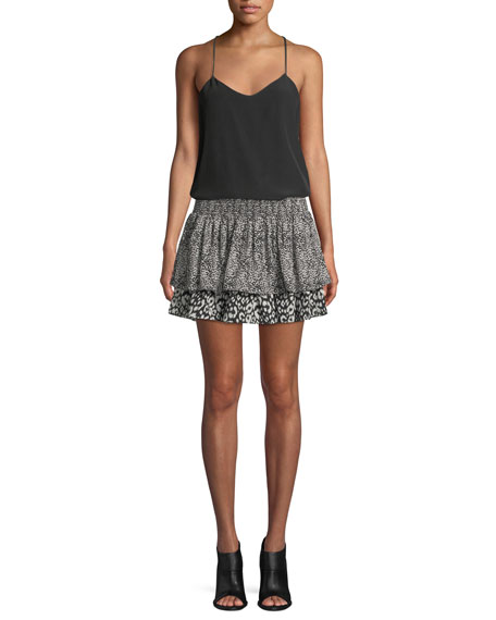 Annabelle Printed Silk Mini Skirt