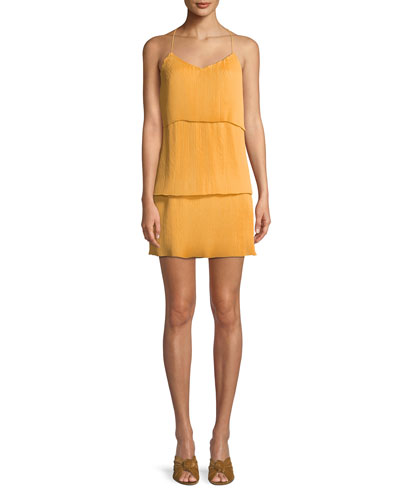 Sleeveless Pleating Mini Dress