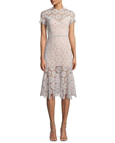 Two-Tone Embroidered Midi Dress