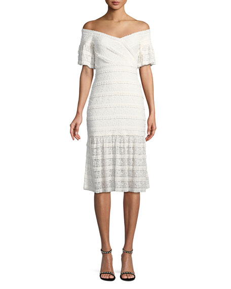 Saylor Stretch Ruffle Lace Midi Dress