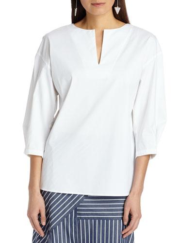 Juliette 3/4-Sleeve Italian Stretch Cotton Blouse