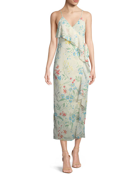 Emily Floral-Print Maxi Wrap Dress in Multi