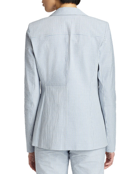 Garrett Seersucker One-Button Jacket
