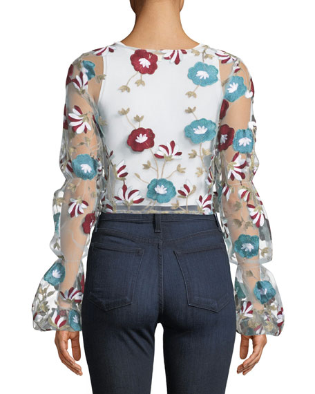 Ava Sheer Floral Embroidered Top