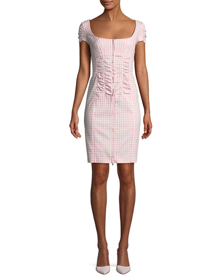 Nanette Lepore Check Me Out Scoop-Neck Gingham Mini