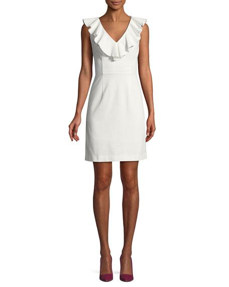 Alpina Tropical Ponte V-Neck Mini Dress
