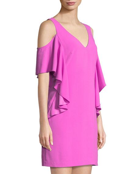 Lambada Carmel Crepe Ruffle Mini Dress