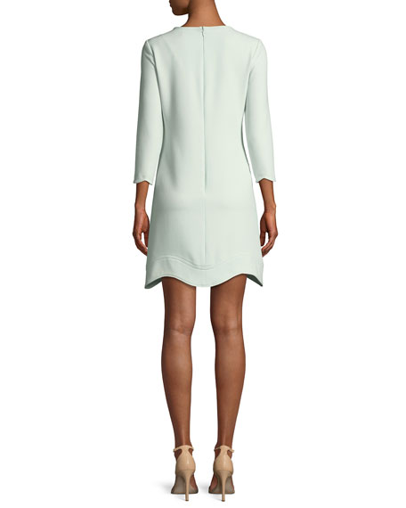 Reina Three-Quarter Sleeve Scalloped Mini Dress