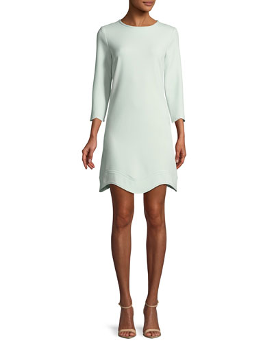 Reina Three-Quarter Sleeve Scalloped Mini Dress