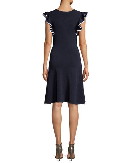 Saya Knit Scoop-Neck Dress w/ Ruffle Trim