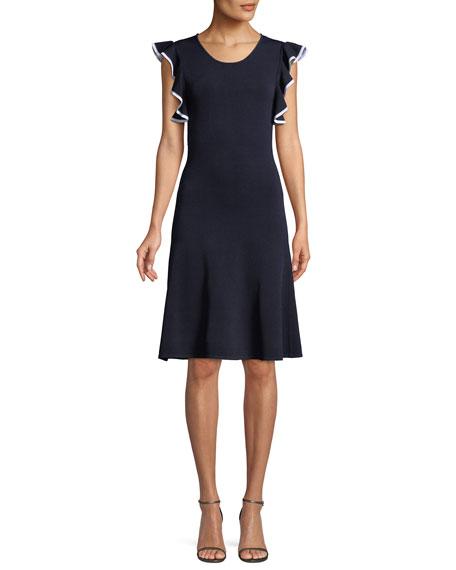 Shoshanna Saya Knit Scoop-Neck Dress w/ Ruffle Trim