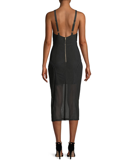 Katie V-Neck Sleeveless Mesh Pencil Dress