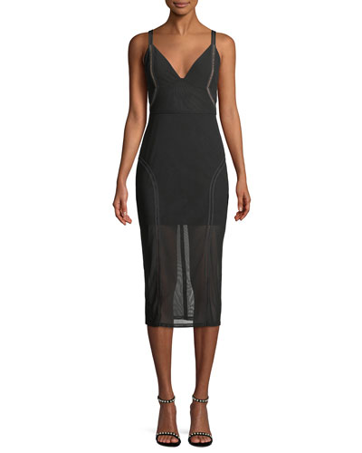 Katie V-Neck Sleeveless Mesh Pencil Dress