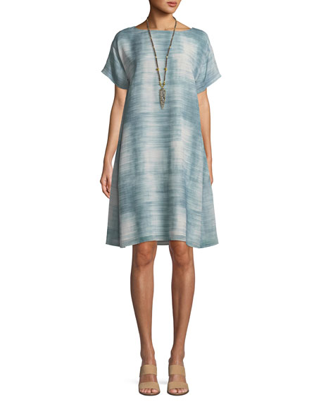 Daze Short-Sleeve Printed Silk Dress, Petite
