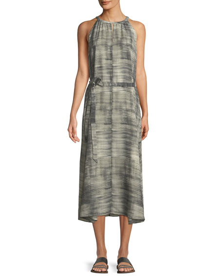 Eileen Fisher Daze-Print Silk Halter Dress and Matching
