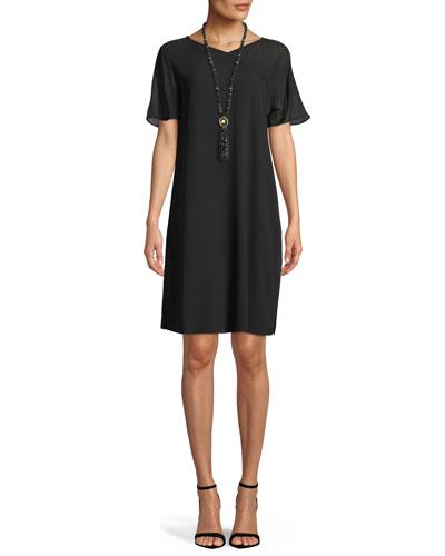 Silk Georgette Crepe V-Neck Dress